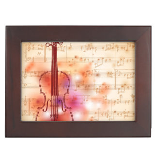 Drawing on watercolor background of violin memory box