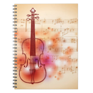 Drawing on watercolor background of violin notebook
