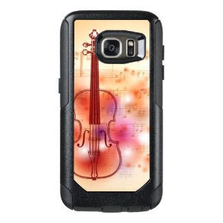 Drawing on watercolor background of violin OtterBox samsung galaxy s7 case