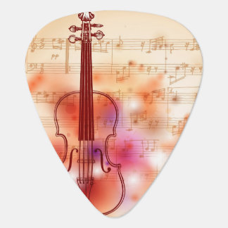 Drawing on watercolor background of violin plectrum