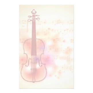 Drawing on watercolor background of violin stationery