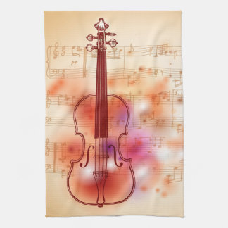 Drawing on watercolor background of violin tea towel