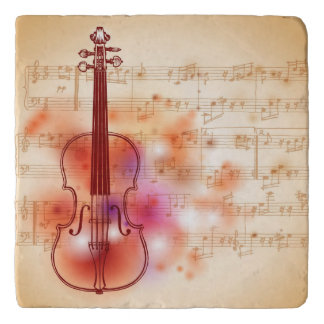 Drawing on watercolor background of violin trivet