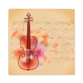 Drawing on watercolor background of violin wood coaster