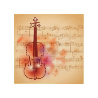 Drawing on watercolor background of violin wood print