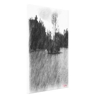 Drawing pond small Island Canvas Print