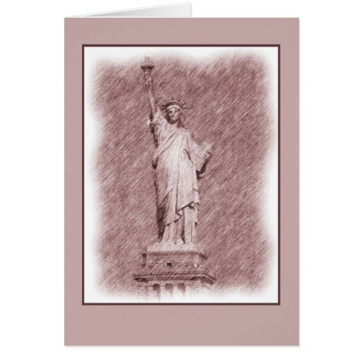 Drawing Statue Of Liberty New York City Greeting Cards