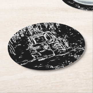 drawing tractor and nature round paper coaster