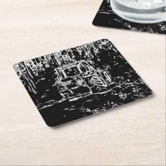 drawing tractor and nature square paper coaster