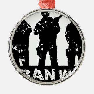 drawing urban war Silver-Colored round decoration
