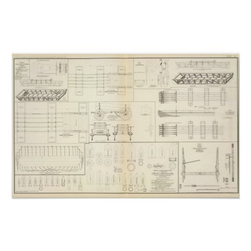 Drawings boats, bridges, wagons, projectiles poster