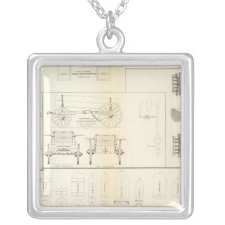 Drawings boats, bridges, wagons, projectiles silver plated necklace