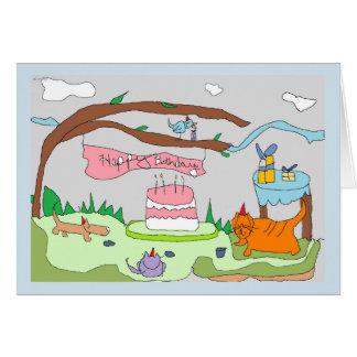 Drawlings' party animals say, Happy Birthday! Card