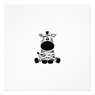 Drawn Black and White Cartoon Zebra sitting Photo Print