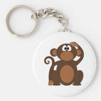 Drawn Brown Cartoon monkey scratching head Basic Round Button Key Ring