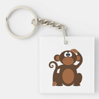 Drawn Brown Cartoon monkey scratching head Double-Sided Square Acrylic Key Ring