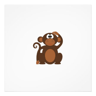 Drawn Brown Cartoon monkey scratching head Photographic Print