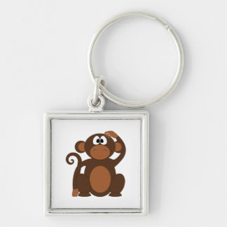 Drawn Brown Cartoon monkey scratching head Silver-Colored Square Key Ring
