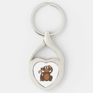 Drawn Brown Cartoon monkey scratching head Silver-Colored Twisted Heart Key Ring