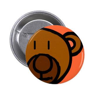 Drawn Teddy Bear Face 6 Cm Round Badge