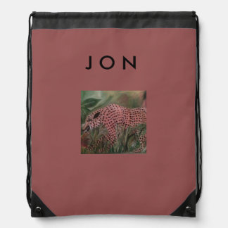 Drawstring Back Pack Big Cat for Jon Drawstring Bag