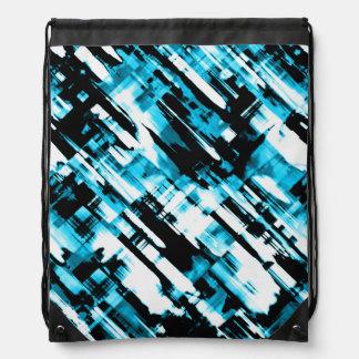 Drawstring Backpack Blue Black digitalart G253