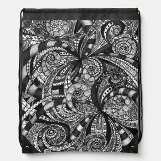 Drawstring Backpack Drawing Floral