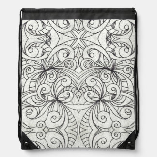 Drawstring Backpack Floral Doodle Drawing
