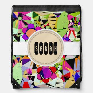 Drawstring Backpack Geometric Flowers Custom Name
