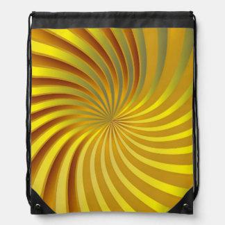 Drawstring Backpack Gold Spiral Vortex