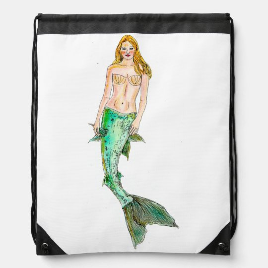 Drawstring Backpack - Mermaid Coral