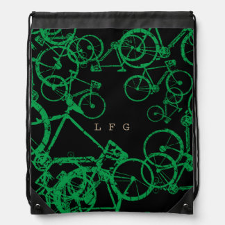 drawstring backpack of green bicycles personalized