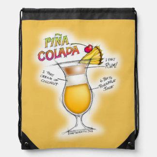 DRAWSTRING BACKPACK - PINA COLADA RECIPE ART