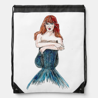 Drawstring Backpack - Sitting Mermaid
