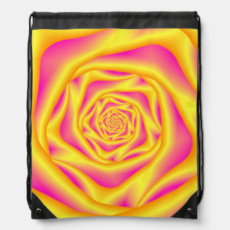Drawstring Backpack Spiral Rose in Yellow and Pink