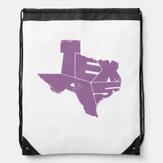Drawstring Backpack with Purple Texas State Map