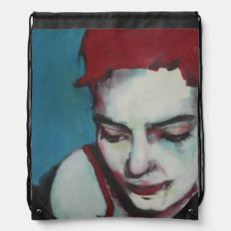 Drawstring backpack woman with red hair