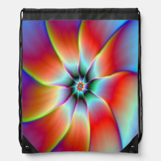 Drawstring Bag   Flower in Red Orange and Yellow