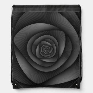 Drawstring Bag   Spiral Labyrinth in Monochrome