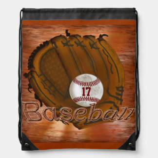 Drawstring Baseball Backpacks with YOUR NUMBER