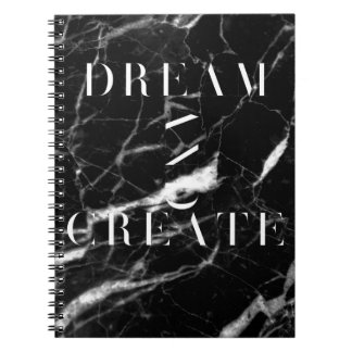 Dream And Create Black and White Marble Notebook