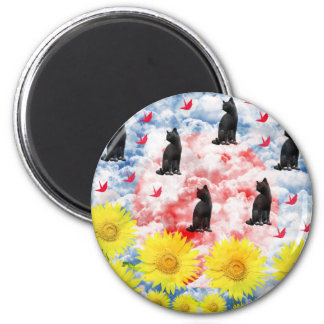 Dream and thousand feather beginning te 6 cm round magnet