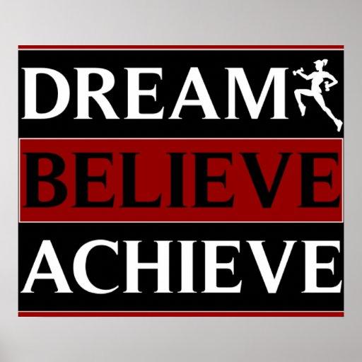 Dream Believe Achieve Fitness Poster