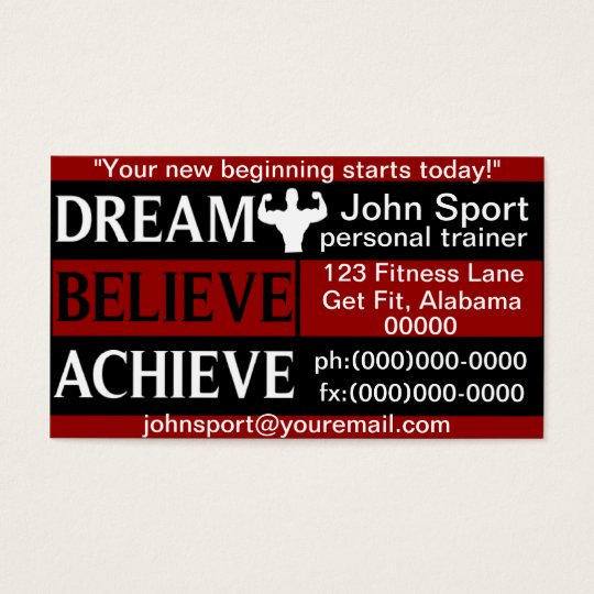 Dream Believe Achieve Personal Trainer Business Card