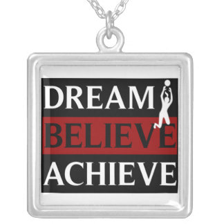Dream Believe Achieve Womens Volleyball Necklace