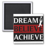 Dream Believe Achieve Womens Volleyball Square Magnet