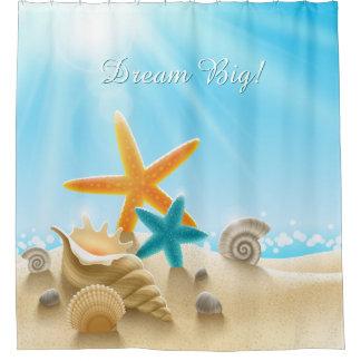 Dream Big - Beach scene with starfish & seashells Shower Curtain