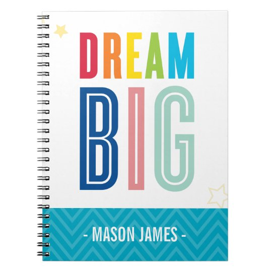 DREAM BIG cool typography bright colours Notebook