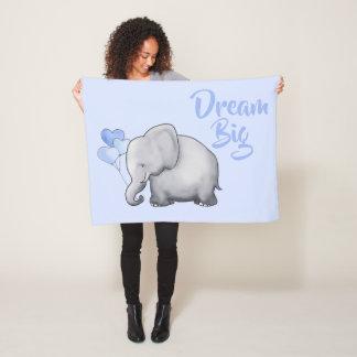 Dream Big Cute Baby Elephants Nursery Fleece Blanket
