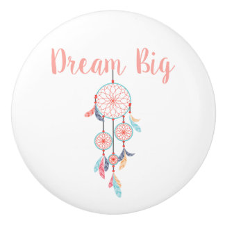 Dream Big Dreamcatcher Bohemian Dream Catcher Ceramic Knob